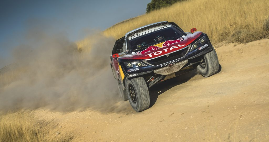 Carlos Sainz from Team Peugeot Total during a test run with the new Peugeot 3008 DKR17  in Zaragoza, Spain, on August 18, 2016