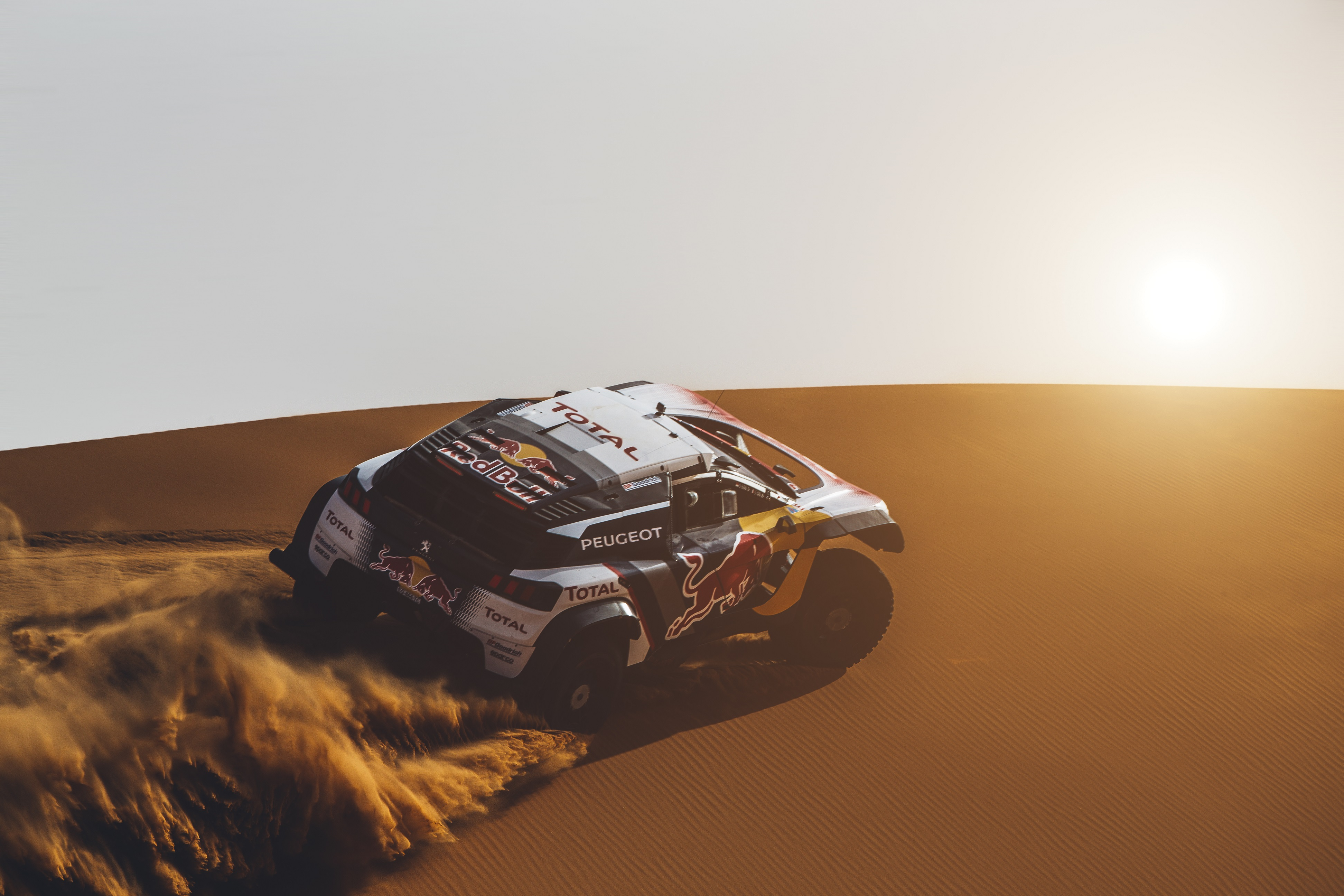 Stephane Peterhansel  from Team Peugeot Total performs during a test run with the new Peugeot 3008 DKR Maxi  in Erfoud, Morocco on September 14, 2017